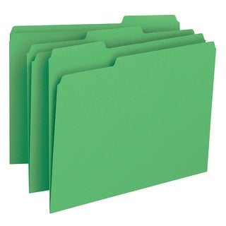 Smead 1/3 Cut 1-Ply Top Tab File Folder, Letter, Green, Pack of 100
