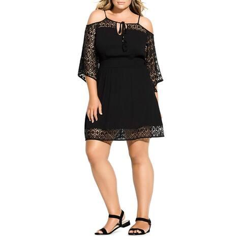 City Chic Womens Mini Dress Lace Trim Cold Soulder - Black