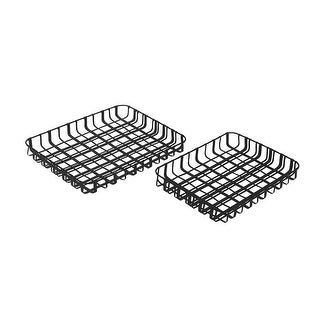 2 Piece Black Basket Weave Metal Tray Set