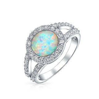 CZ Pave Halo Created Blue Opal Round Solitaire Ring For Women 925 Sterling Silver Split Band October Birthstone