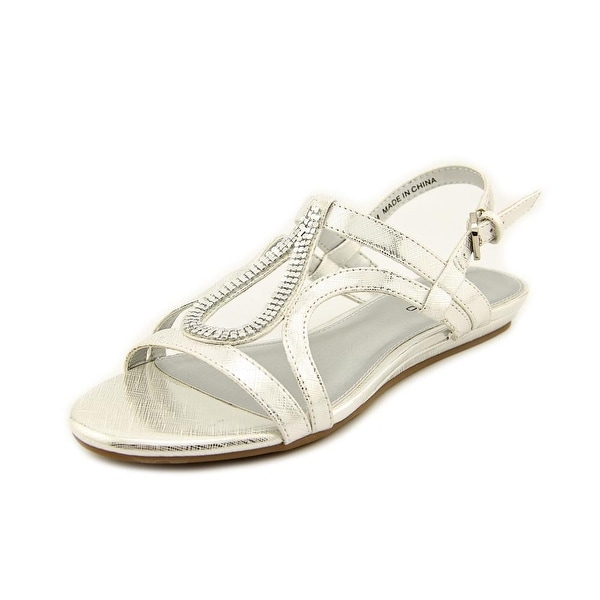 Bandolino Aftershoes Women Open-Toe Synthetic Silver Slingback Sandal