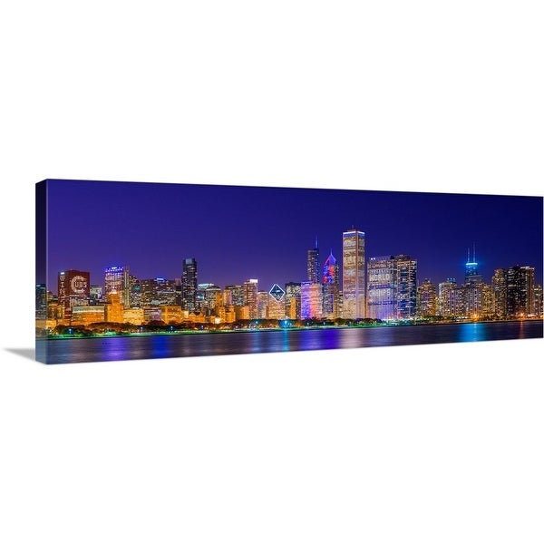 """""""Chicago skyline with Cubs World Series lights night, Chicago, Illinois"""" Canvas Wall Art"""