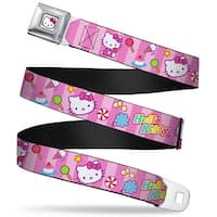 Hello Kitty Face W Pink Bow Full Color White Hello Kitty Face Sitting Pose Seatbelt Belt
