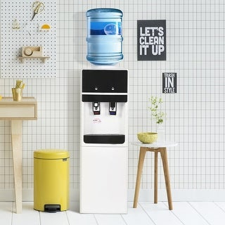 Costway 38 ''Compressor Top Loading Water Cooler Dispenser Cold Hot 5 Gallon Home Office