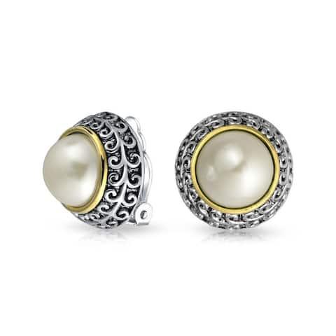 Bali 2 Tone Imitation Gemstone Dome Clip On Earrings Non Pierced Ear