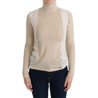 Costume National Costume National Beige Turtleneck Viscose Top Sweater