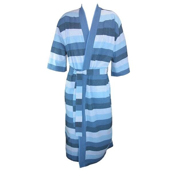 Majestic International Men's Cotton Knit Striped Kimono Robe - deep water stripe - One size