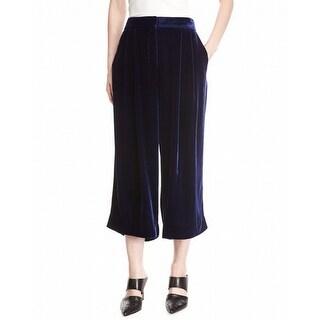 Tibi NEW Blue Womens Size 4 Button-Front Silk Capris Cropped Pants