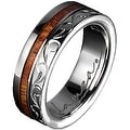 Titanium Wedding Band With Koa Wood Inlay & Edge Design 6 mm - Thumbnail 0