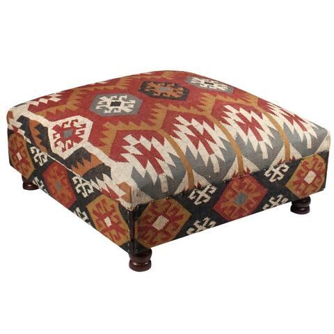 Handmade Indian Kilim Upholstered Storage Ottoman