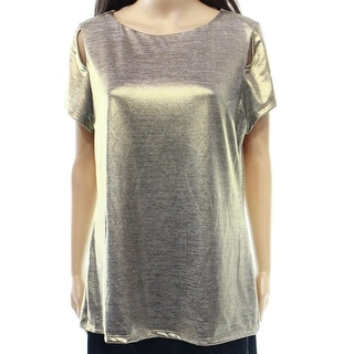 INC NEW Solid Gold Women's Size Large L Cutout Shimmer Marled Blouse