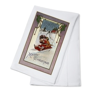 Merry Christmas - Couple Sledding - Vintage Holiday Art (100% Cotton Towel Absorbent)