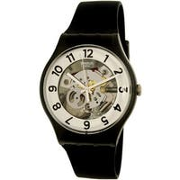 Swatch Men's Skeletor  Black Rubber Swiss Quartz Dress Watch