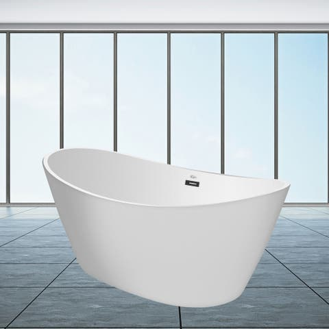 """59"""" x 30"""" Freestanding Hourglass Soaking Acrylic Bathtub in White with Brushed Nickel Overflow and Drain"""
