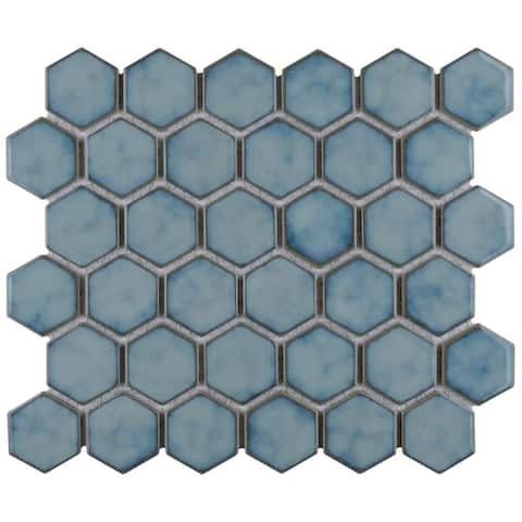 SomerTile Hudson Due 2 in. Hex Marine 12-1/2 in. 11-1/4 in. x 5mm Porcelain Mosaic Tile (10 Tiles/9.97 sqft.)