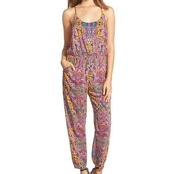 Love Sadie NEW Purple Print Lace Size Medium M Junior Tapered Jumpsuit