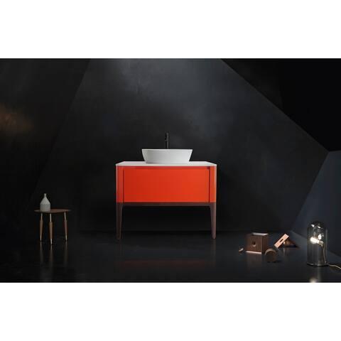 "SEBASTIAN 36"" Red Amber/White Dual Mount Modern Bathroom Vanity Set"