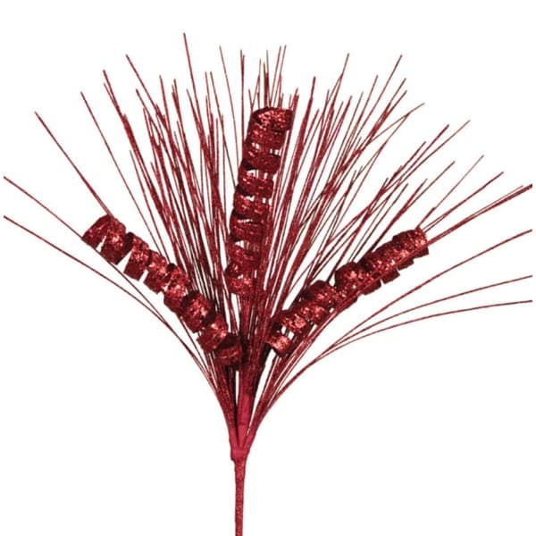 Pack of 8 Decorative Red Needle and Spiral Christmas Sprays 28""