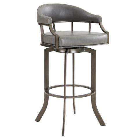 Pharaoh Swivel Mineral Finish and Grey Faux Leather Bar Stool