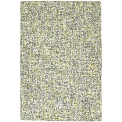 One of a Kind Hand-Tufted Modern 2' x 3' Solid Wool Green Rug - 2' x 3'