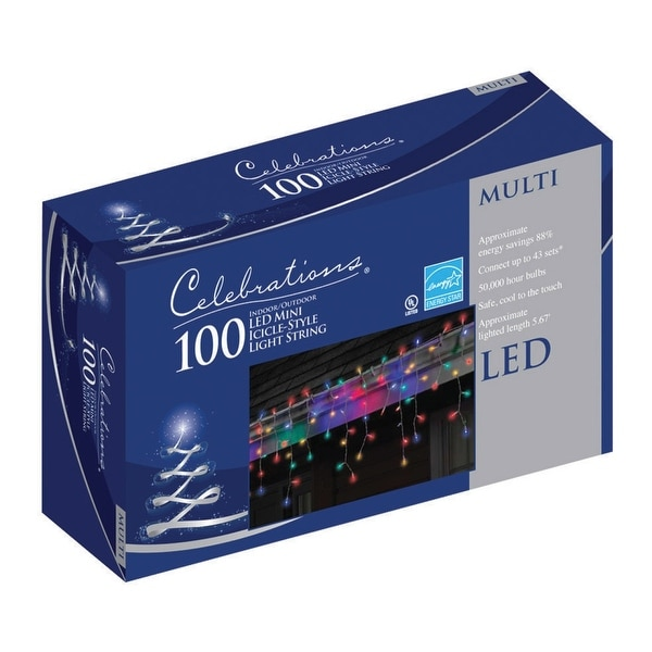 Celebrations 40812-71 LED Icicle Lights Set, 5.5', 100 Multi-Color Lights