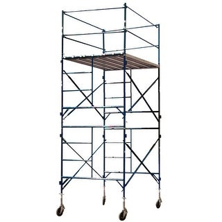 Offex 2 Story Metal Rolling Scaffold Tower with Blue Powder Coat Finish