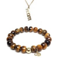 "Brown Tiger's Eye 7"" Bracelet & Mom Gold Charm Necklace Set"