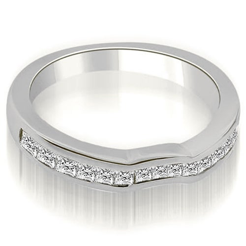 0.60 cttw. 14K White Gold Channel Set Princess Cut Diamond Wedding Band
