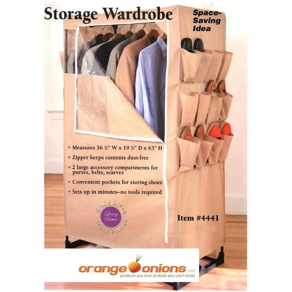 Portable Space Saver Storage Wardrobe w/ Shoe Rack