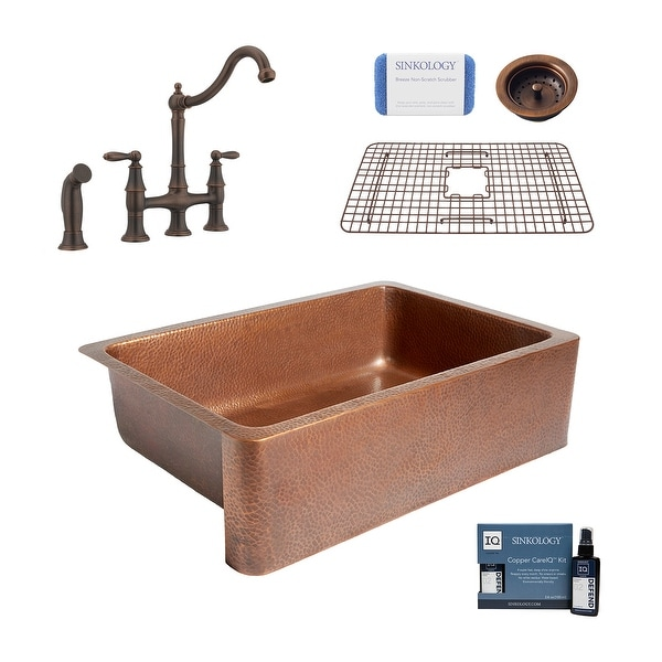 """Adams 33"""" Farmhouse Copper Kitchen Sink with Bridge Faucet and Strainer Drain. Opens flyout."""