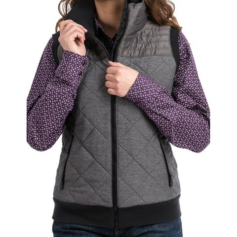 Cinch Western Vest Womens Twill Quilted Zipper Pockets Gray