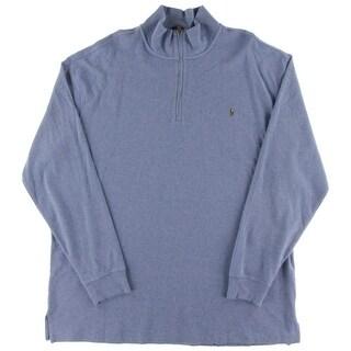 Polo Ralph Lauren Mens Big & Tall 1/4 Zip Jacket Heathered Long Sleeve