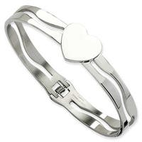 Chisel Stainless Steel Heart Hinged Bracelet