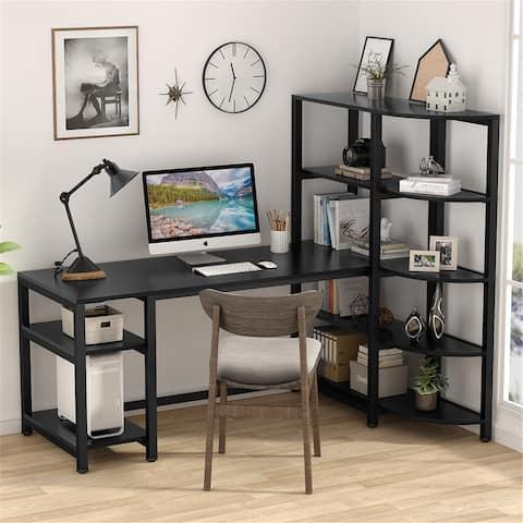 67 inch Computer Desk with Shelves, Modern Writing Desk with Bookshelf PC Desk