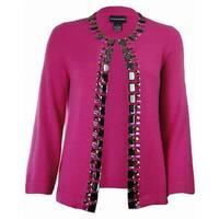 Sutton Studio Womens 100% Cashmere Jewel Cardigan Sweater