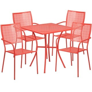 Westbury 5pcs Square 28'' Coral Steel Table w/4 Square Back Chairs