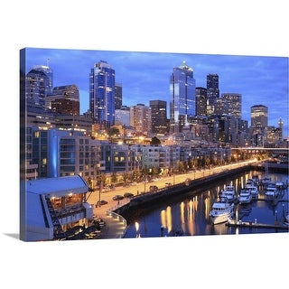 """Seattle skyline and harbor, Washington State"" Canvas Wall Art"