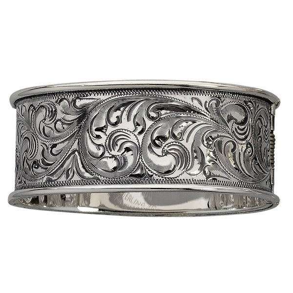 """Vogt Western Womens Bracelet Hinged Engraved Cuff 1"""" Silver 014-070"""