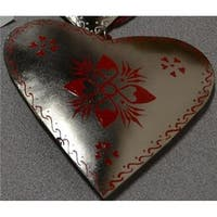 6 in. Alpine Chic Country Rustic Style Silver & Red Floral Heart