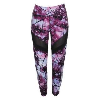 Material Girl Juniors Purple Black Shattered Galaxy Printed Illusion Leggings XL