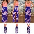 Womens Casual Summer Floral Side Slit Maxi Beach Tank Dress Sundress - Thumbnail 0