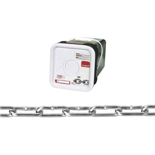 605-Pound Load Capacity CAMPBELL 0724527 Low Carbon Steel Straight Link Coil Chain on Reel 100-Feet Length 0.21-Inch Diameter 3//0 Trade Zinc Plated