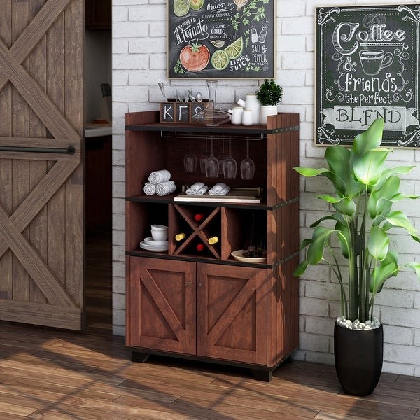 Furniture of America Keya Farmhouse Wine Cabinet Buffet. Opens flyout.