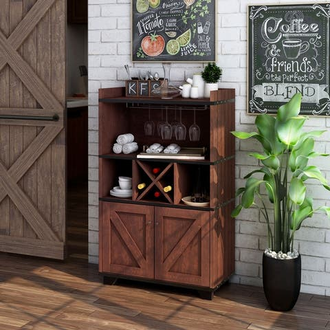 Furniture of America Keya Farmhouse 31-inch Wine Cabinet Buffet