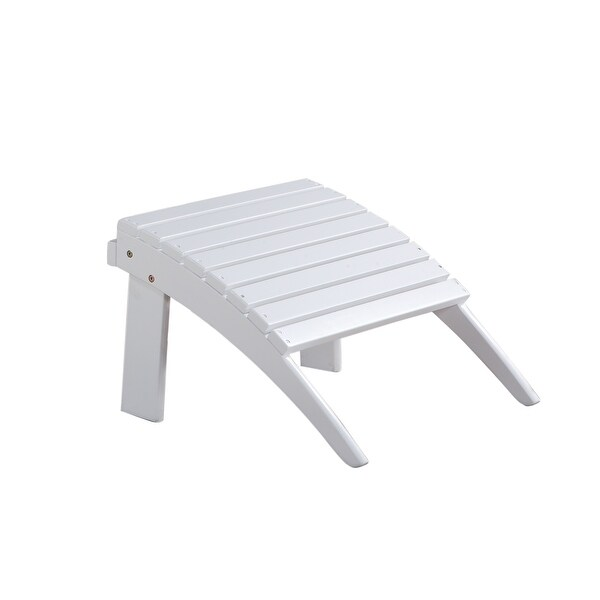 Arched Wooden Ottoman with Slatted Design and straight Legs, White