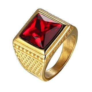 Red Solitaire Stone Mens Ring 14k Gold Tone Stainless Steel Custom Style Classy
