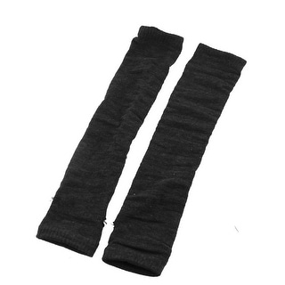 Unique Bargains Knitted Dark Gray Fingerless Gloves Arm Warmers for Lady