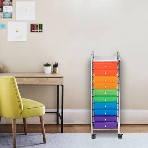 Office Utility Organizer Plastic Boxes 10-Drawer Organizer Cart