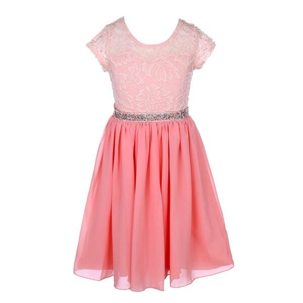 bd84f704b9 Girls Peach Lace Stone Belt Chiffon Junior Bridesmaid Party Dress