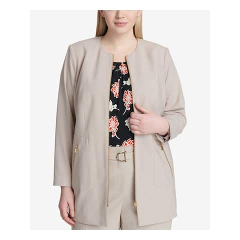 CALVIN KLEIN Womens Beige Topper Jacket Plus Size: 22W